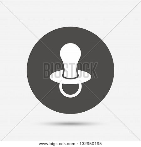 Baby's dummy sign icon. Child pacifier symbol. Gray circle button with icon. Vector