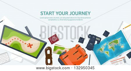 Travel and tourism. Flat style. World, earth map. Globe. Trip, tour, journey, summer holidays. Travelling, exploring worldwide. Adventure, expedition. Table, workplace. Traveler. Navigation or route planning.