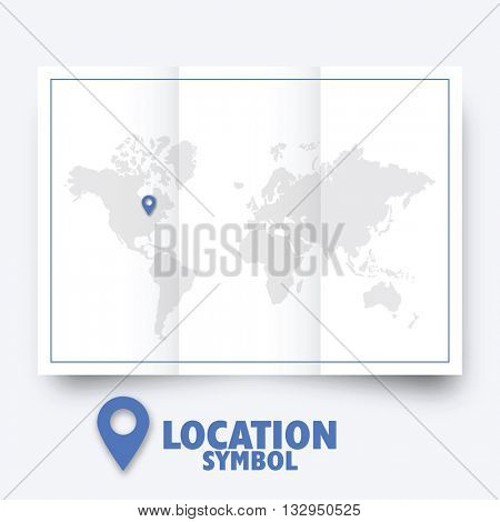 Location symbol. Map pointer, world map.