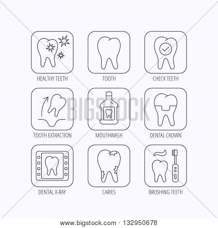 Tooth, dental crown and mouthwash icons. Caries, tooth extraction and hygiene linear signs. Brushing teeth flat line icon. Flat linear icons in squares on white background. Vector