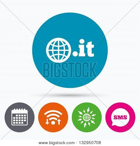 Wifi, Sms and calendar icons. Domain IT sign icon. Top-level internet domain symbol with globe. Go to web globe.