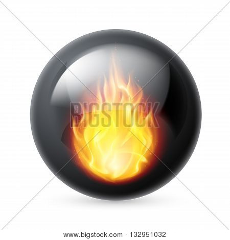 Black sphere with fire flames inside on white background