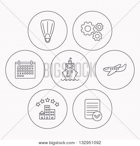 Cruise, flippers and airplane icons. Hotel linear sign. Check file, calendar and cogwheel icons. Vector