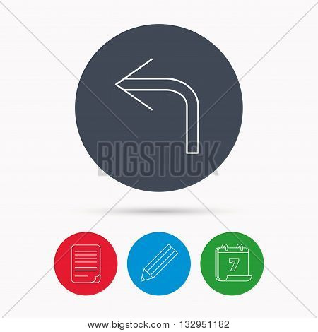 Turn left arrow icon. Previous sign. Back direction symbol. Calendar, pencil or edit and document file signs. Vector
