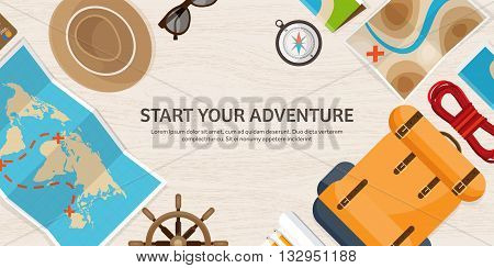 Travel and tourism. Flat style. World, earth map. Globe. Trip, tour, journey, summer holidays. Traveling, exploring worldwide. Adventure, expedition. Table, workplace. Traveler. Navigation or route planning. Wood, wooden.