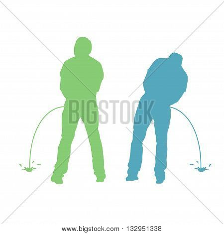 illustration of pissing two men silhouette standing back on white background