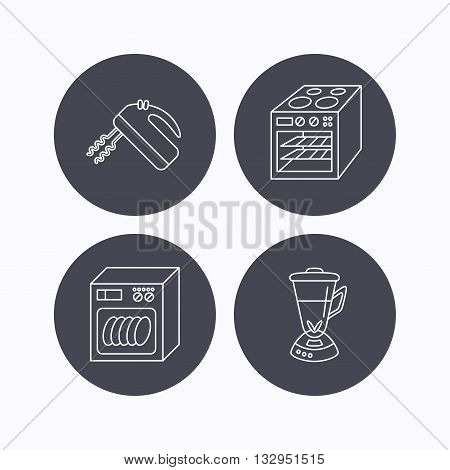 Dishwasher, oven and mixer icons. Blender linear sign. Flat icons in circle buttons on white background. Vector