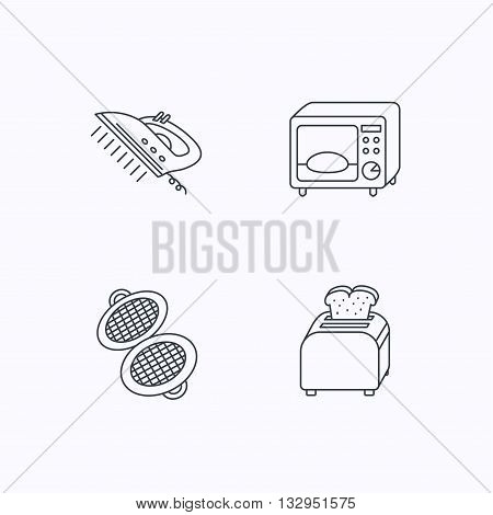 Microwave oven, waffle-iron and toaster icons. Steam ironing linear sign. Flat linear icons on white background. Vector