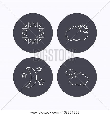 Weather, sun and cloudy icons. Moon night linear sign. Flat icons in circle buttons on white background. Vector