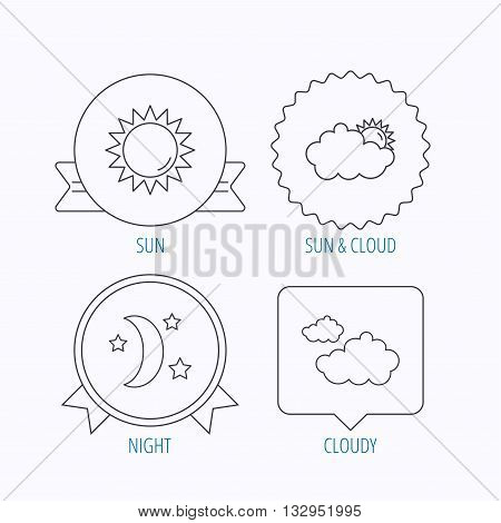 Weather, sun and cloudy icons. Moon night linear sign. Award medal, star label and speech bubble designs. Vector