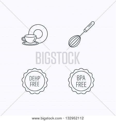 Food and drink, whisk and BPA free icons. DEHP free linear sign. Flat linear icons on white background. Vector