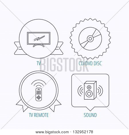 TV remote, sound and DVD disc icons. Widescreen TV linear sign. Award medal, star label and speech bubble designs. Vector
