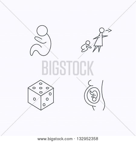 Pregnancy, paediatrics and dice icons. Unattended linear sign. Flat linear icons on white background. Vector