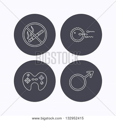 No smoking, family planning and game joystick icons. Male linear sign. Flat icons in circle buttons on white background. Vector