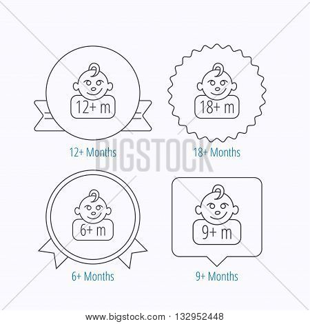 Infant child and toddler baby icons. 6-18 months child linear sign. Award medal, star label and speech bubble designs. Vector