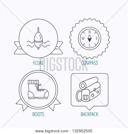 Compass, fishing float and hiking boots icons. Backpack linear sign. Award medal, star label and speech bubble designs. Vector