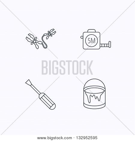 Screwdriver, battery terminal and tape measure icons. Bucket of paint linear sign. Flat linear icons on white background. Vector
