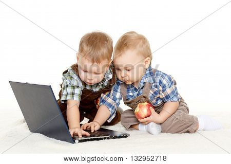 Small Children With Notebook.