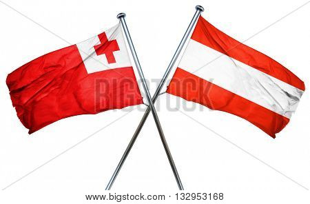 Tonga flag with Austrian flag, 3D rendering