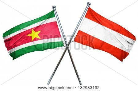 Suriname flag with Austrian flag, 3D rendering