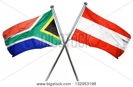 South africa flag with Austrian flag, 3D rendering