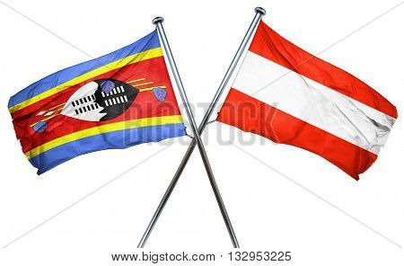 Swaziland flag with Austrian flag, 3D rendering
