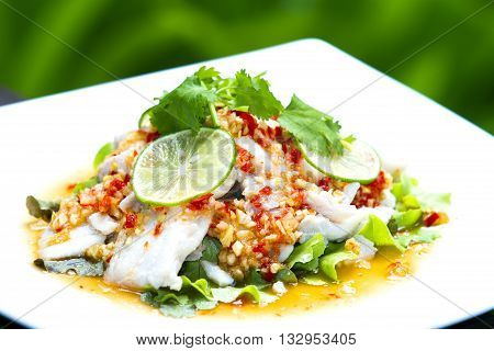 steamed fish Chinese style steamed fish in spicy sauce