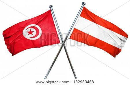 Tunesia flag with Austrian flag, 3D rendering