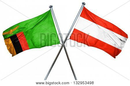 Zambia flag with Austrian flag, 3D rendering
