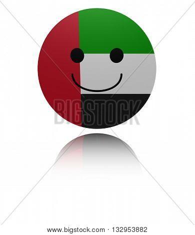 UAE happy icon with reflection 3d illustration