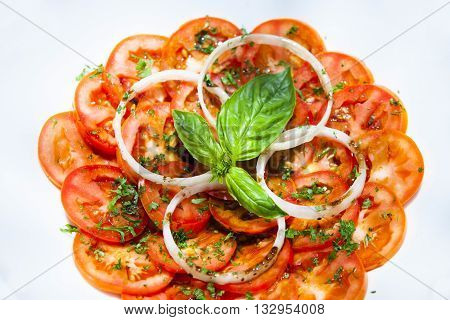 Healthy natural food background. Tomatoes slices. More background of fruits and vegetables in my portfolio.Thai Hotel Luxury food.
