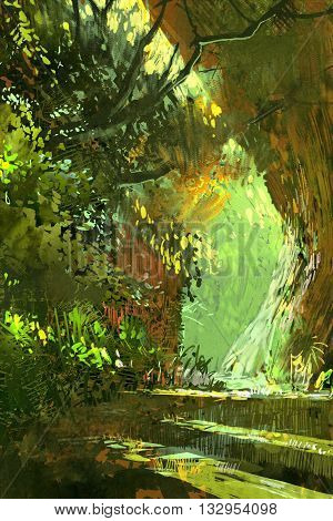 walkway in the forest, scenery, landscape illustration