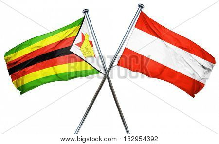 Zimbabwe flag with Austrian flag, 3D rendering