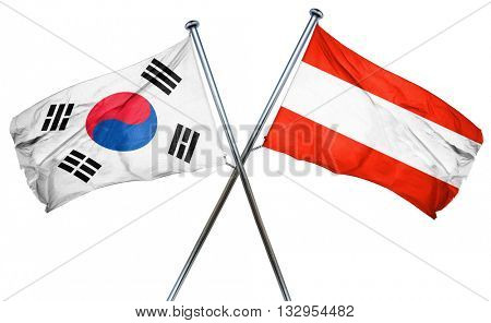 South korea flag with Austrian flag, 3D rendering