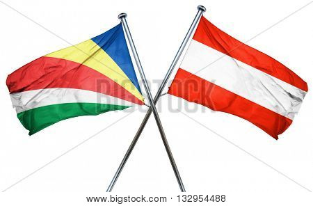 seychelles flag with Austrian flag, 3D rendering