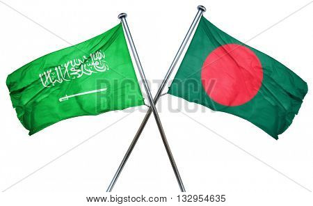 Saudi Arabia flag with Bangladesh flag, 3D rendering