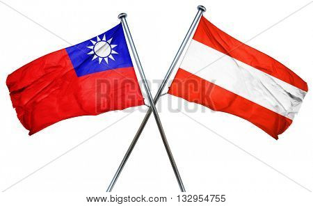Republic of china flag with Austrian flag, 3D rendering