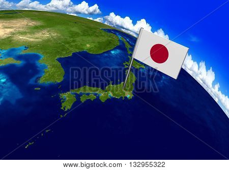 Flag marker over country of Japan on globe map 3D rendering, parts of this image furnished by NASA