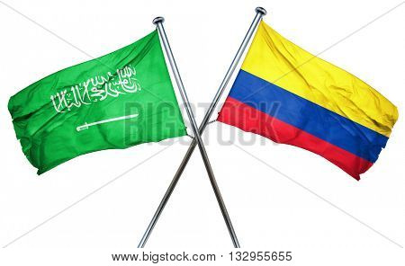 Saudi Arabia flag with Colombia flag, 3D rendering