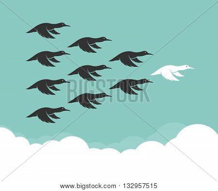 Flock of mallard flying in the sky Leadership concept Wild Duck