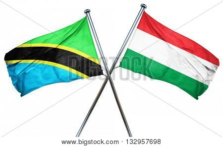 Tanzanian flag with Hungary flag, 3D rendering