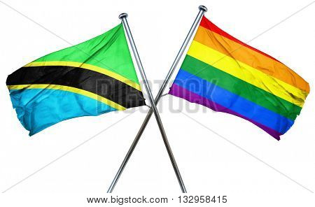 Tanzanian flag with rainbow flag, 3D rendering