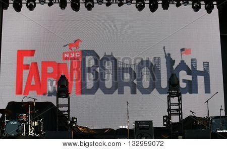 NEW YORK-JUN 26: General view of the stage at the 2015 FarmBorough Festival - Day 1 at Randall's Island on June 26, 2015 in New York City.