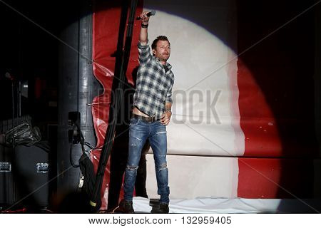 NEW YORK-JUN 26: Country musician Dierks Bentley performs onstage at the 2015 FarmBorough Festival - Day 1 at Randall's Island on June 26, 2015 in New York City.