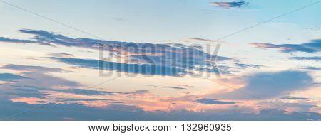 Sunset sky and cloud - panorama effect