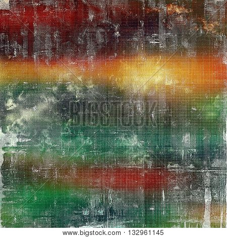 Vintage background in scrap-booking style, faded grunge texture with different color patterns: yellow (beige); brown; green; blue; red (orange)