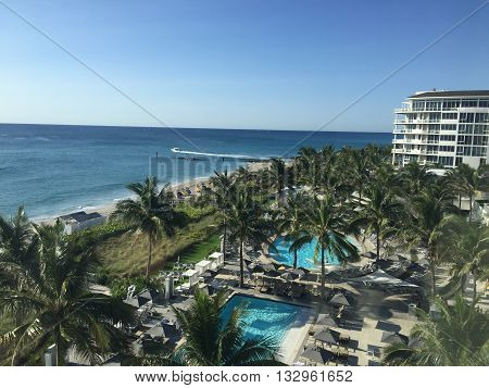 BOCA RATON, Florida - May 8, 2016. The Beach Club in Boca Raton, a luxury vacation getaway.