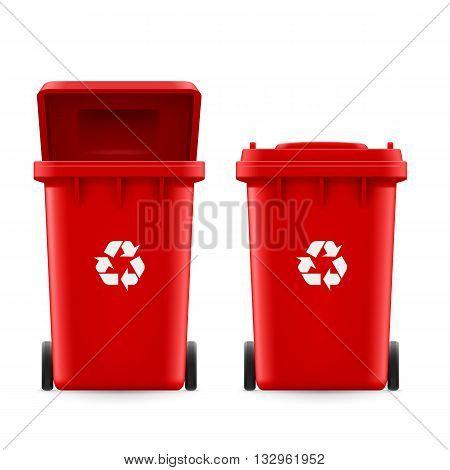 Set of red buckets for trash with sign arrow