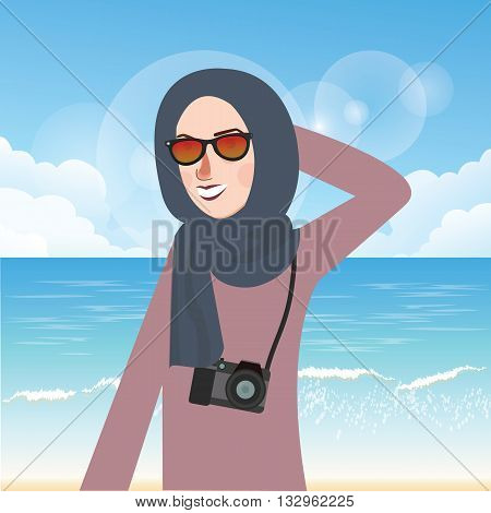 woman wear hijab and glasses casual in beach while bring cammera vector