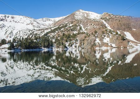 Beautiful vivid reflection at Big Virginia Lake, Eastern Sierra Nevada. California, USA.